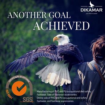 """Imagem de uma águia representativa da Dikamar com o texto """"mais um objetivo alcançado"""""""