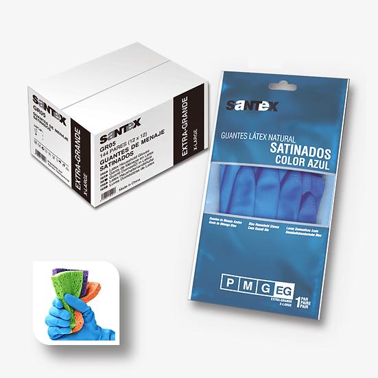 Luva Latex Acetinada Azul