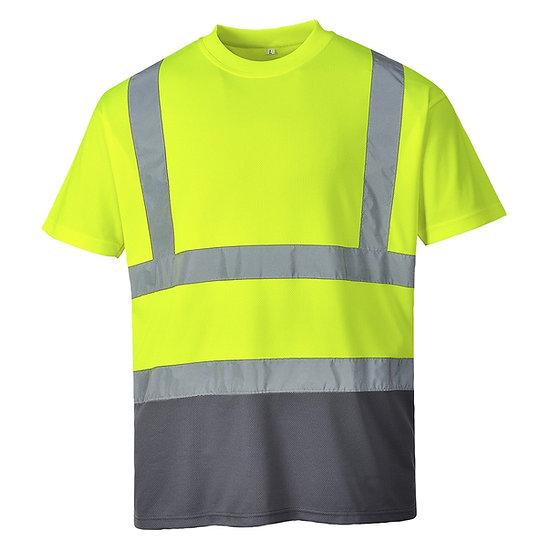 T- Shirt 2 Cores de Alta Visibilidade c/ Faixas