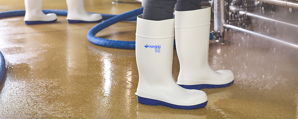 White Eaglegrip boot in a wet food industry environment
