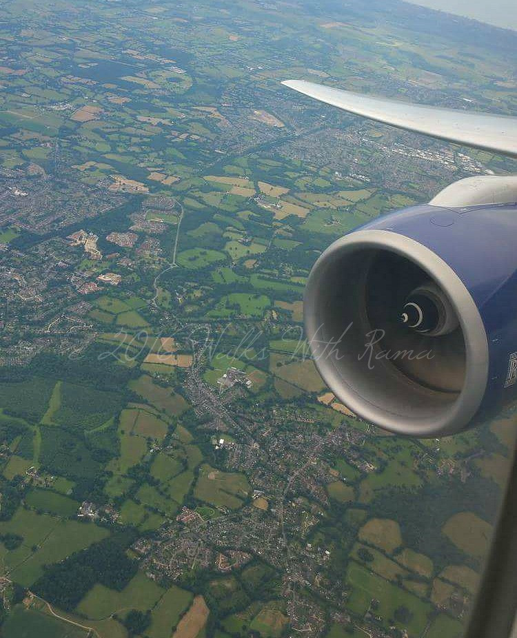 English countryside from airplane