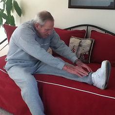 Seniors exercise for balance.