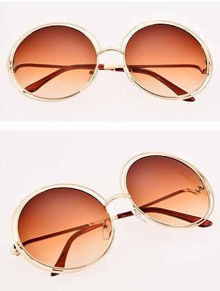 Pretty ROUND Brown Retro Sunglasses