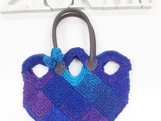 ドミノ編みのチューリップバッグ