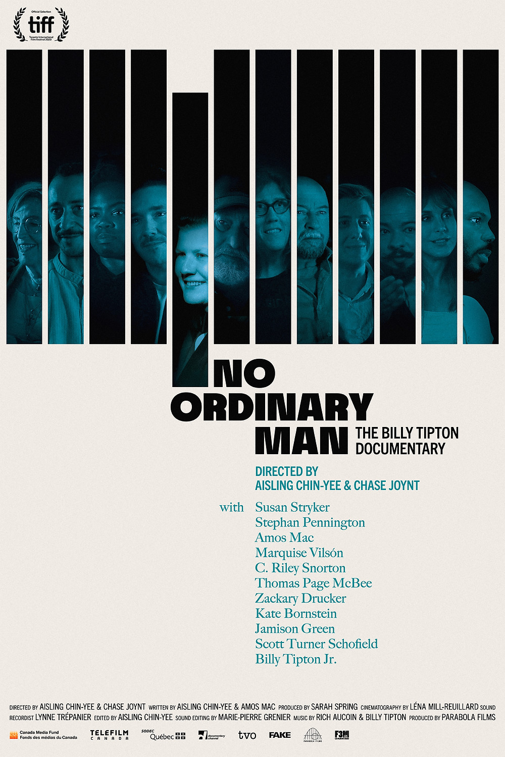 The poster for No Ordinary Man, made to look like a keyboard, each key is a face with a blue overlay.