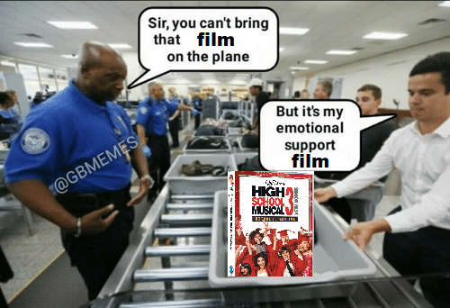 Meme: A security officer at the airport is saying 'Sir, you can't bring that film on the plane', the passenger has High School Musical 3 in his box, and is saying 'But it's my emotional support film'