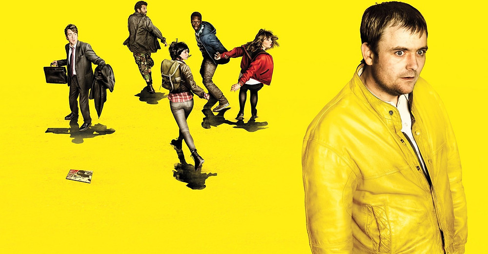 The poster from the Utopia series, almost all bright yellow, the main character stands far right staring blankly into the distance, five other people are running away