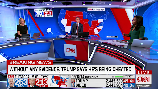 Dana Bash, Jake Tapper, and Abby Phillip sit socially distanced in the news room around a blue and red news desk.