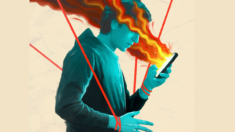 Netflix poster for Social Dilemma, a boy stares into his phone with flames dragging towards his mind, his hands are tied with puppet string that float away from his body
