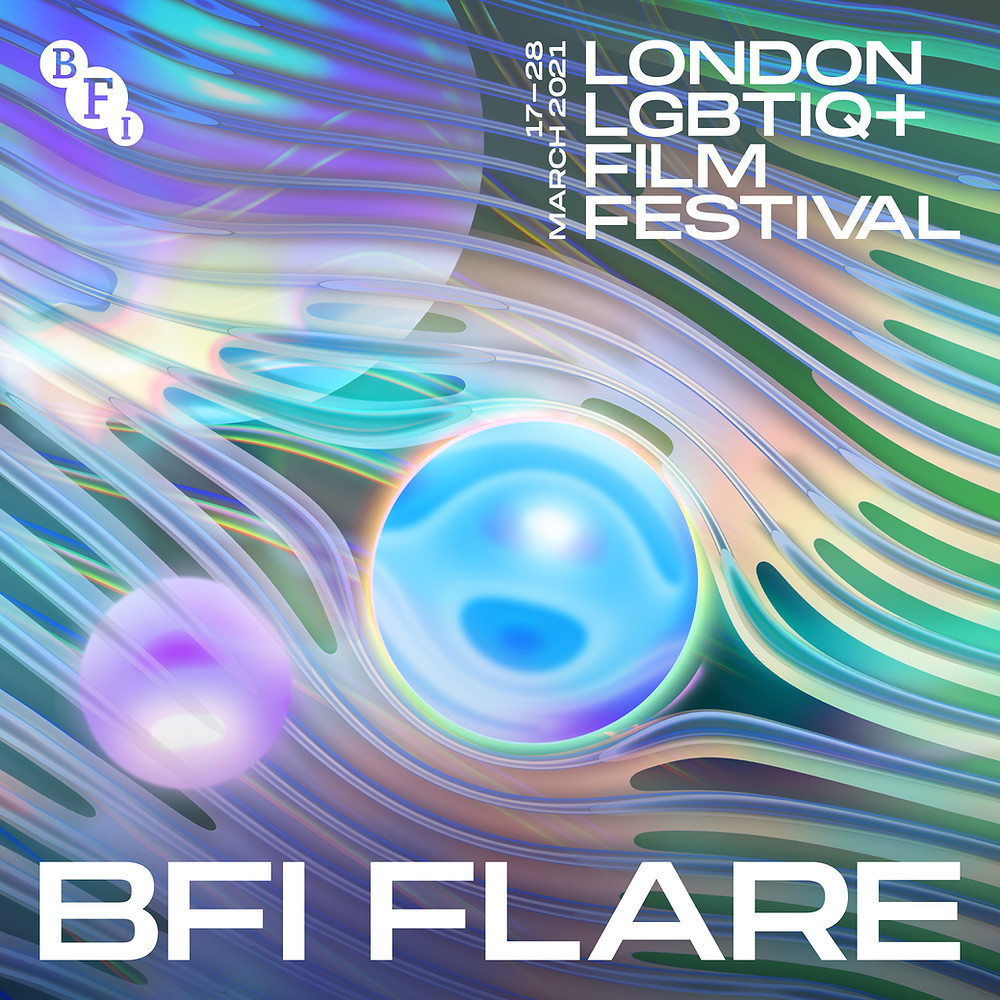 The poster from BFI Flare LGBTIQ+ Festival 2021, psychedelic blues, greens and purples surround and orb that resembles an eye