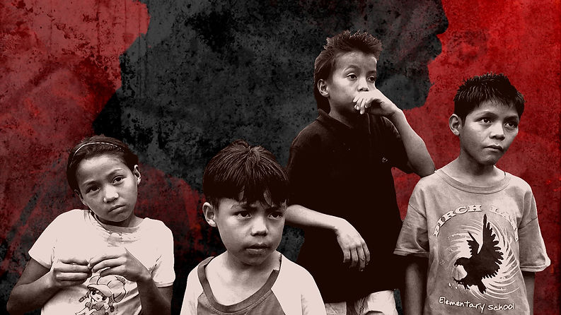 Poster from documentary Clean Hands: four young children in black and white gaze off camera.