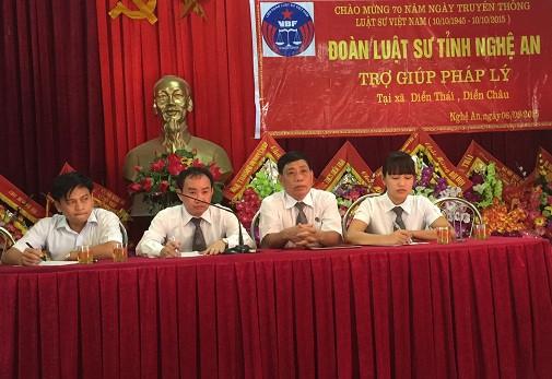 Một số Luật sư thuộc Đoàn Luật sư tỉnh Nghệ An tham gia TGPL miễn phí