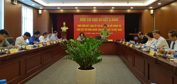 TS. LS Đỗ Ngọc Thịnh - Bí thư Đảng đoàn, Chủ tịch LĐLSVN báo cáo hoạt động của LĐLSVN sau 5 năm thực hiện Kết luận số 102-KL/TW của Bộ Chính trị.