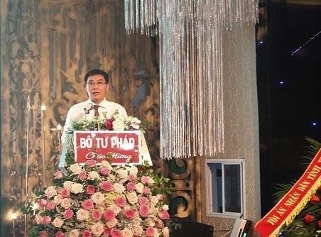 Đồng chí Giám đốc Sở Tư pháp Bùi Đình Sơn phát biểu tại Đại hội
