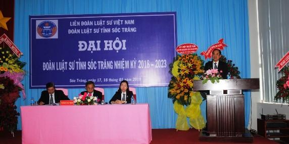 Luât sư Phan Thông Anh phát biểu tại đại hội đoàn luật sư tỉnh Sóc Trăng nhiệm kỳ VIII ( 2018-2023)