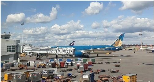 Chuyến bay VN 062 chuẩn bị khởi hành lúc 14 giờ 40 phút chiều ngày 6/8/2019 tại Sân bay quốc tế Moscow Sheremetevo đưa các thành viên Đoàn công tác trở về Việt Nam. Ảnh: Hoài Phan.