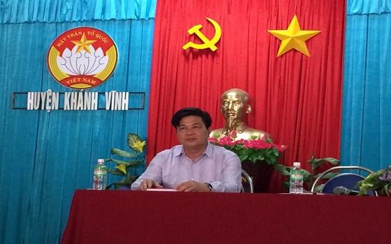 Chủ tịch LĐLSVN Đỗ Ngọc Thịnh tại buổi tiếp xúc cử tri tại Trung tâm văn hóa UBND huyện Khánh Vĩnh