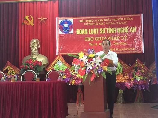 Luật sư Hoàng Thanh Bình - Ủy viên Ban Thường vụ LĐLSVN, Chủ nhiệm Đoàn Luật sư tỉnh Nghệ An phát biểu tại buổi TGPL