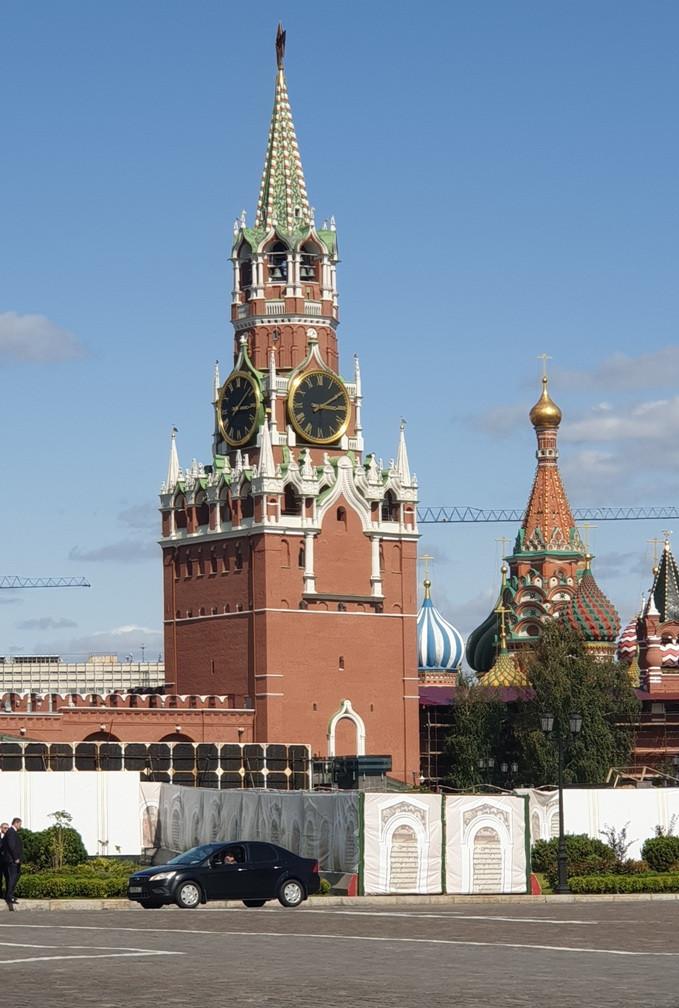 Tháp đồng hồ Điện Kremlin ngày 29/7/2019