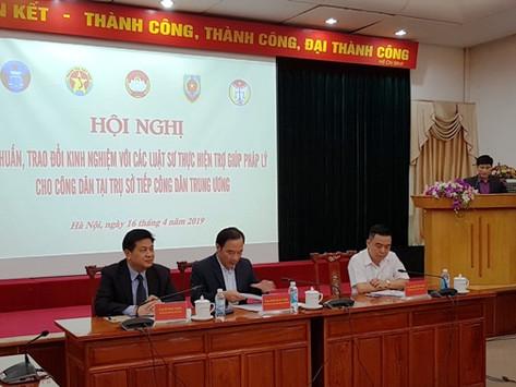 Hội nghị tập huấn, trao đổi kinh nghiệm với các LS thực hiện TGPL cho công dân tại Trụ sở tiếp CDTƯ
