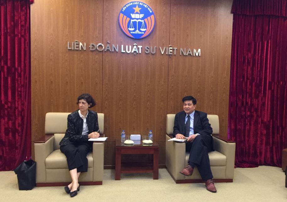 LS. TS. Đỗ Ngọc Thịnh - Chủ tịch LĐLSVN tiếp Tùy viên hợp tác tư pháp và PL