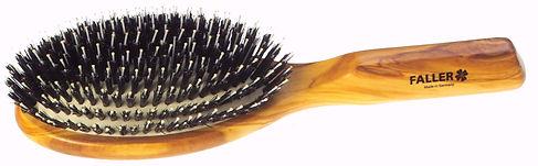 Haarbürste Pneumassage-Bürste Olivia oval gross Naturborsten mit Frisierpin | 10 Reihen | Grösse 220x62mm