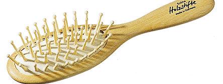Haarbürste Pneumatik-Bürste Buchenholz oval klein echte Holzstifte mit Noppen | Grösse 185x48mm