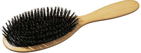 Haarbürste Pneumatik-Bürste Buchenholz oval klein Naturborsten mit Frisierpin | Grösse 185x48mm