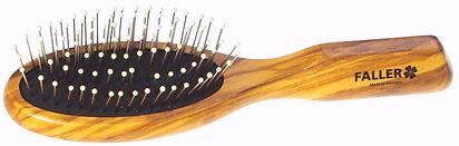 Haarbürste Olivia oval klein Stahlstifte mit Noppen | 7 Reihen | Grösse 175x48mm