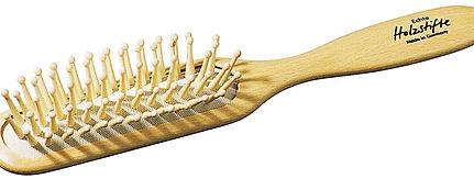 Pneumatik-Haarbürste Buchenholz gerade, Holzstifte mit Noppen