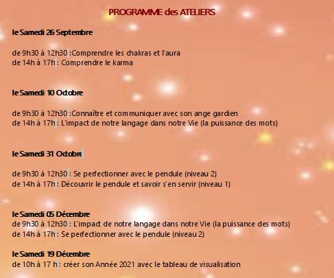 Programme des Ateliers Sept/Oct/Déc 📖