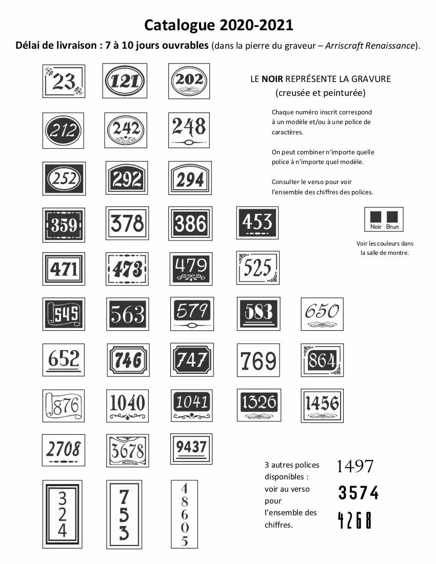 Catalogue de nos modèles d'adresses (numéro civique).)