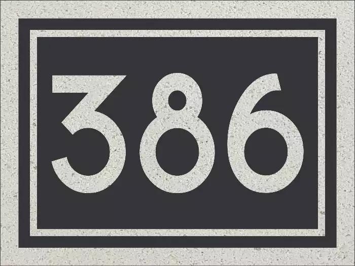 Combinaison de la plaque d'adresse 386 avec les numéros civiques de 378.