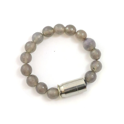Bailey - grey agate, 10mm faceted