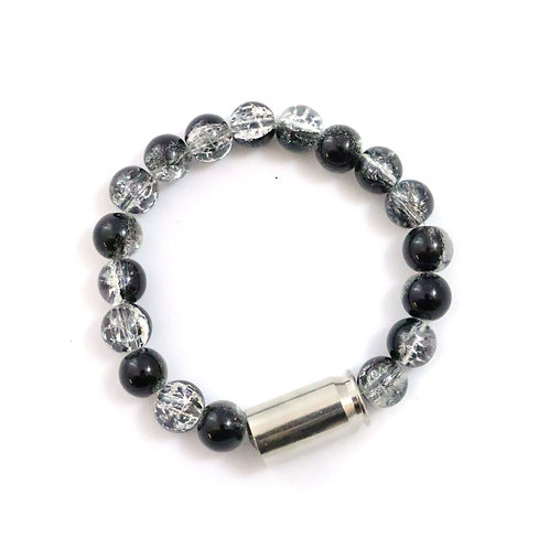 Bailey - black/clear cracked crystal, 10mm polished