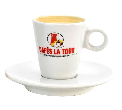 LOT DE 6 DÉJEUNERS PORCELAINE LA TOUR + SOUS TASSES