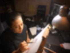 Sara hard at work in the studio.