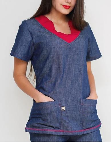 Camisa Indigo metido colore cereza