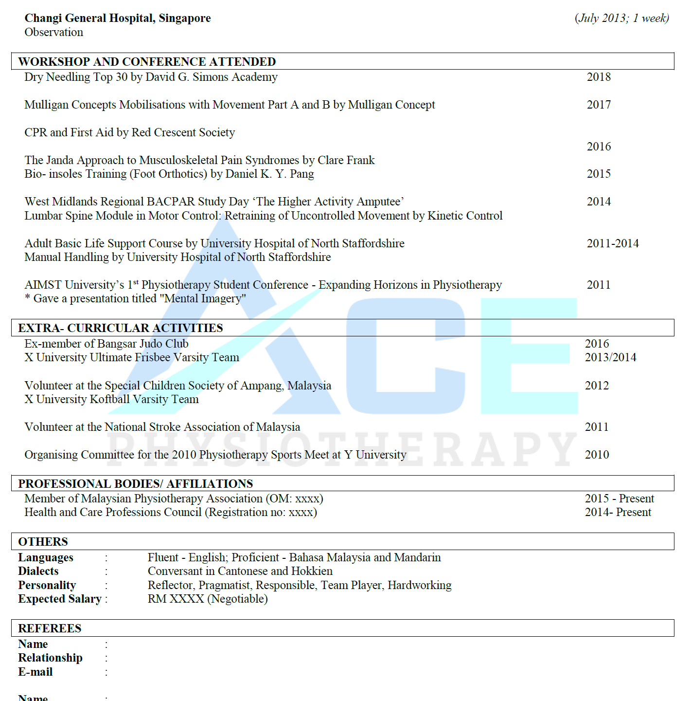 Physiotherapy sample resume 2