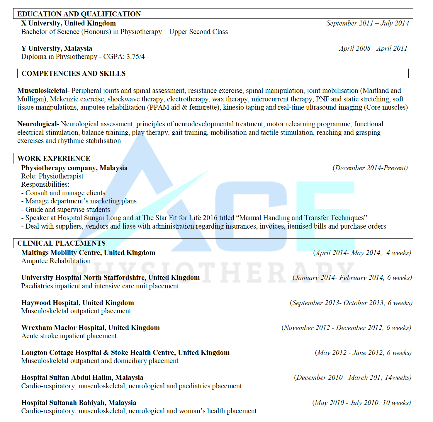 Physiotherapy sample resume 1