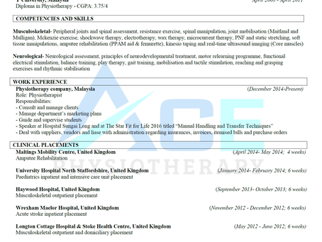 How to write a Physiotherapy Resume