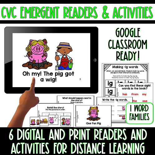 Digital and Print Short I CVC Emergent Readers and Activities