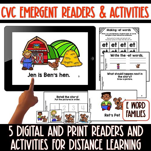 Short E CVC Emergent Readers and Activities