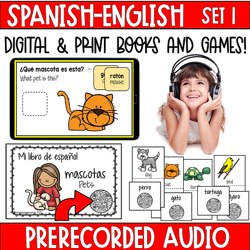 Spanish Books and Games with Audio-Digital and Print- Set 1