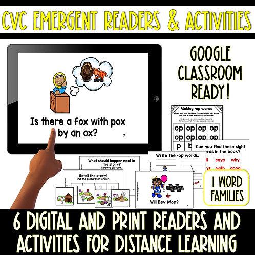 Digital and Print Short O CVC Emergent Reader and Activities