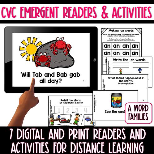 Digital and Print Short A CVC Emergent Readers