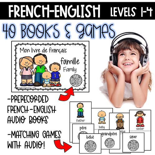 Growing Bundle French Books & Games with Audio Levels 1-4