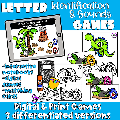 Digital and Print Alphabet & Letter Sound Matching Games-Dinosaurs