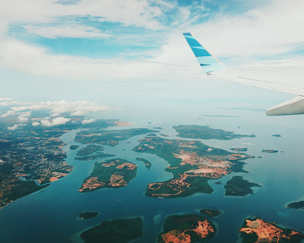 plane, travel, islands, ocean, sky