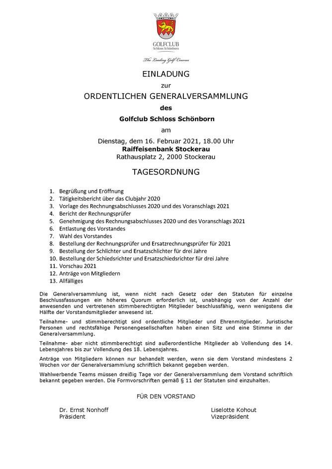 Einladung zur GV 2021